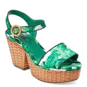 NWT Dolce & Gabbana Banana Leaf Wicker Platforms